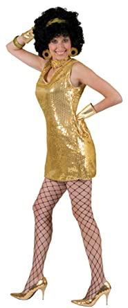 Funny Fashions Womens Retro Gold Disco Dress Theme Party Halloween Costume S 6
