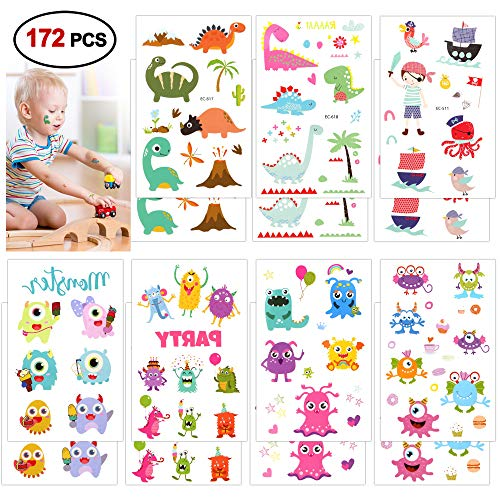 Temporary Tattoos For Kids(172pcs), Konsait Monsters Pirate Dinosaur Assorted Temporary Tattoos For Boys Girls Children Great Kids Party favors Accessories Goodie Bag Stuffers Party Fillers Gift
