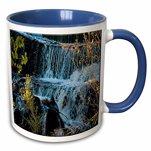 3dRose Jos Fauxtographee Realistic - Fast Moving Waterfall Flowing Over Rocks at Baker Dam in Southern, Utah with Hues of Blue and Green - 11oz Two-Tone Blue Mug (mug_49677_6) (Moving Waterfall)