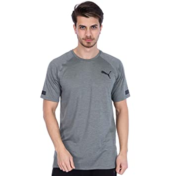 69f33db79359b7 Puma Men Bonded Tech Shortsleeve Tee Men Running Clothes Long Sleeve  Lightgrey - Black S
