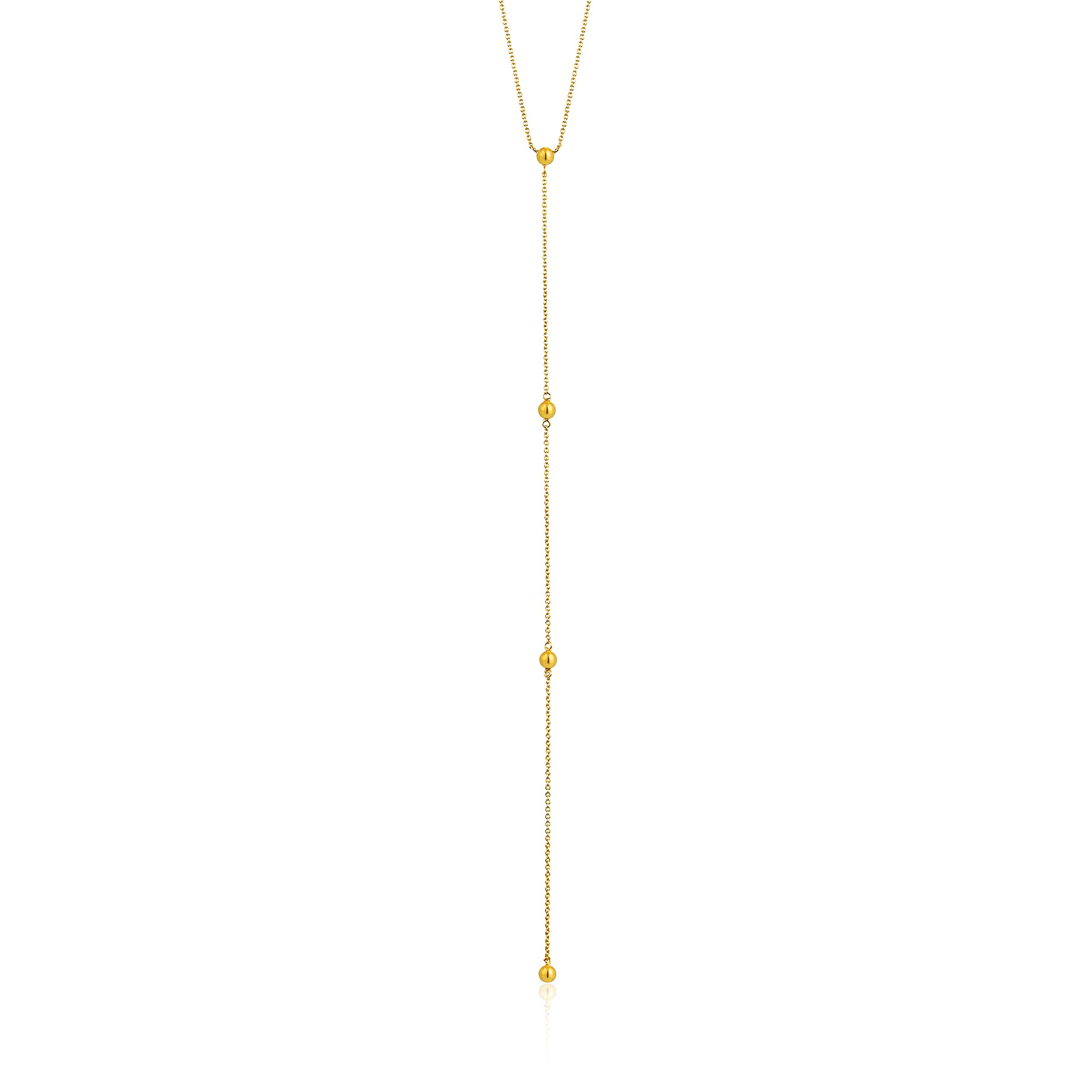 925 Sterling Silver Long Bohemin Drop Lariat Layer Y-Necklace for Women, 14K Yellow Gold Plated by ANIA HAIE