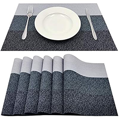 "Familamb Placemats for Dining Table Set of 6 Woven Vinyl Washable Table Placemats Table Decoration Heat Insulation Stain Resistant Grey - &#10004Placemats Material:PVC Size:17.7""X11.8""(45cmX30cm),Set of 6. Not include plate and fork. &#10004Elegant decoration: The stylish table decoration for a better visual enjoyment and better appetite.It would be the most cost-effective dining table decoration you should never miss.Perfect for home dining or hotel and cafe.Great gift idea for any festival. &#10004Premium Quality: Made of premium eco-friendly PVC,simple easy caring and durable. - placemats, kitchen-dining-room-table-linens, kitchen-dining-room - 61boRoYEQPL. SS400  -"