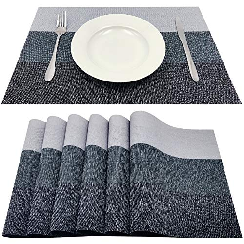 Familamb Placemats for Dining Table Set of 6 Woven Vinyl Washable Table Placemats Table Decoration Heat Insulation Stain Resistant Grey