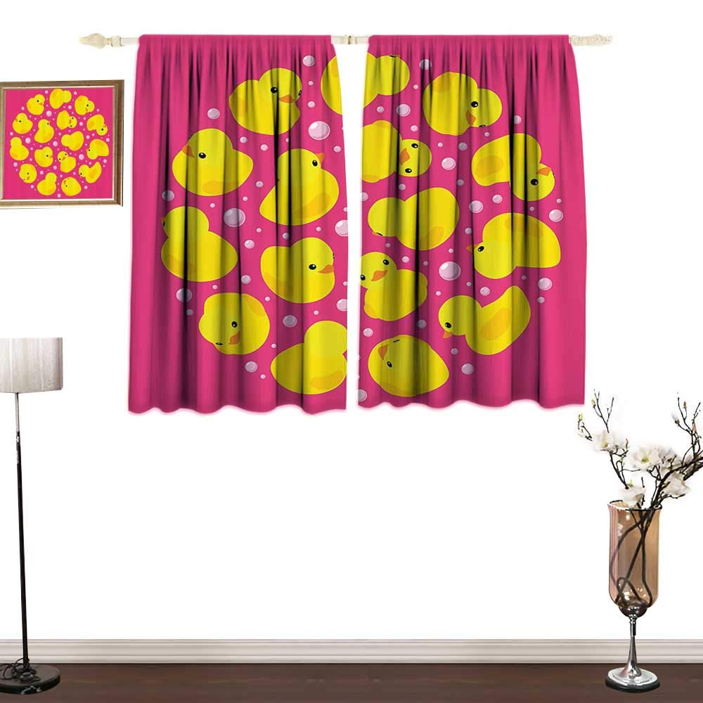 Rubber DuckBedroom Blackout curtainsFun Baby Duckies Circle Artsy Pattern Kids Bath Toys Bubbles Hot Pink Animal PrintEnvironmental Protection W72 xL72 Pink Yellow