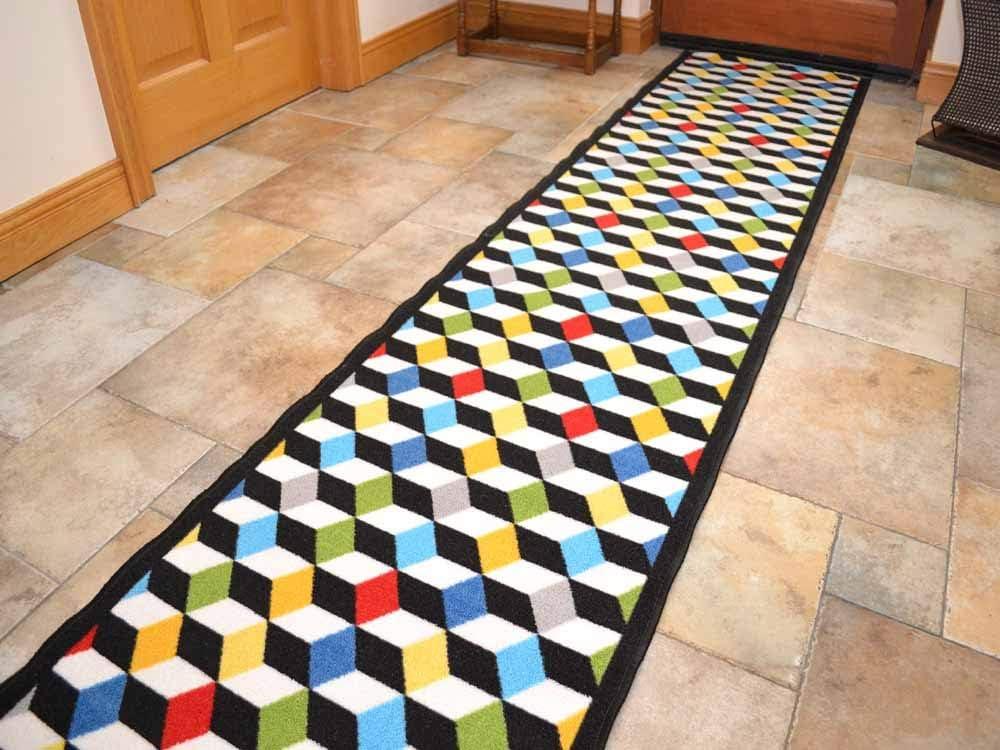 2ft 2 x 1ft Multi Colour Cubes 3D Non Slip Machine Washable Cut To Size Runner Rugs 66cm x 30.5cm