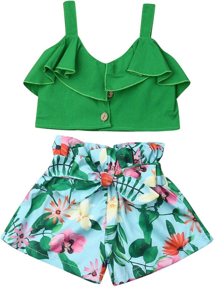 Bow Shorts VISGOGO Toddler Baby Girl Flower Print Outfits Set Sleeveless Tops