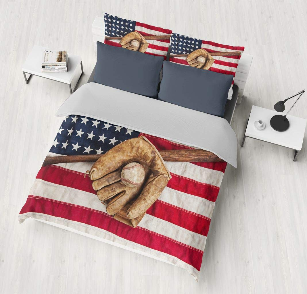 SHOMPE 3D American Flag Baseball Bedding Set,Kids 3 Piece Duvet Cover Set with Pillow Shams for Teens Boys Girls,NO Comforter,Queen Size by SHOMPE (Image #2)
