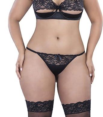 984467cc9 Amazon.com  Sexy Plus Size Lace Open Back Tanga Hot Pants Panty  Clothing