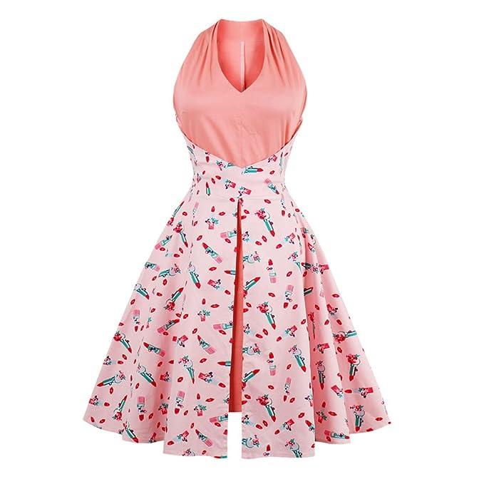 1950 Olddnew Retro vestido de Verano Mujer rosa floral Imprimir Vintage Dress vestido de fiesta 2017 vestidos de mujer nueva y elegante: Amazon.es: Ropa y ...