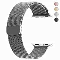 top4cus Double Electroplating Milanese Loop Stainless Steel Replacement iWatch Band with Magnetic Closure Clasp for Apple Watch (Milanese silver - fulfilled by amazon, 38mm Regular Length)