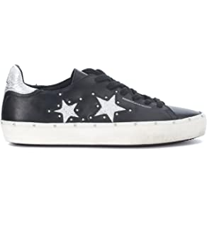 Rebecca Minkoff Women s Michell Black and Silver Leather Sneaker with Studs 1c715457b4a