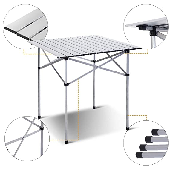 Amazon.com: Joyhome - Mesa plegable, Plata: Home & Kitchen