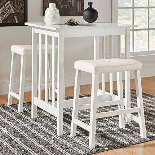 3 Piece Tufted Vinyl Upholstered Saddleback Counter Height Solid Wood Kitchen Dinette Set Includes Our Exclusive Mousepad (White) - Exclusive Dining Sets