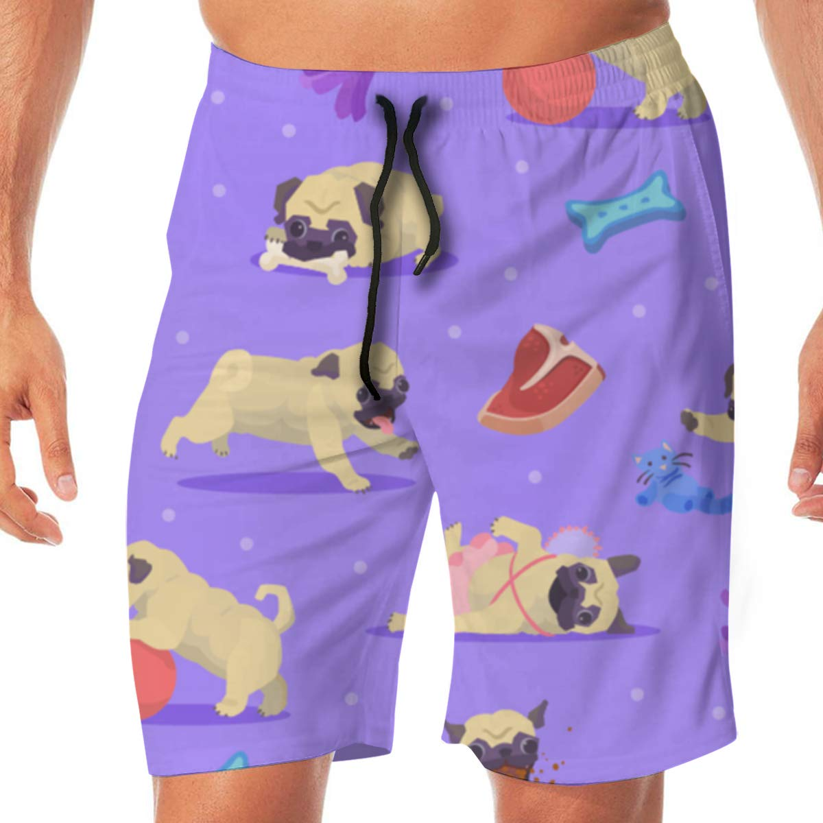 TR2YU7YT Pug Life Casual Mens Swim Trunks Quick Dry Printed Beach Shorts Summer Boardshorts Bathing Suits with Drawstring