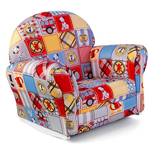 KidKraft Upholstered Rocker with Slip Cover Toy, Firefighter Patchwork