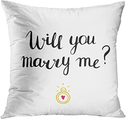 Tyui7 Will You Marry Me Marriage And Wedding Proposal Lettering Phrase Love And Romantic Quote Engagement Ring Decorative Pillow Case Home Decor Square45x45 Cm Pillowcase Amazon Co Uk Kitchen Home