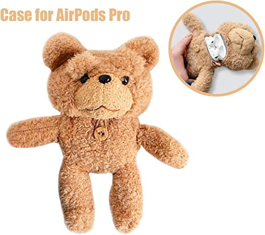 ONGHSD for Apple AirPods Pro Cartoon Case,Cute Furry Bear 3D Animal Protective Cover for AirPods 3rd Generation Case with Keychain Shockproof Soft Protector Shell for Airpod Pro Cover Big in Size