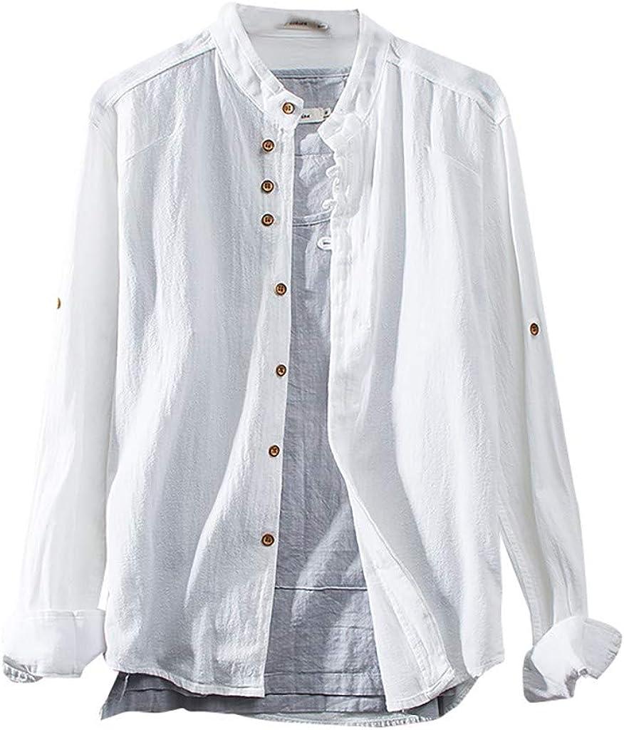 CUTUDE - Camiseta de Manga Larga para Hombre, Estilo otoño, Primavera, Cuello Redondo, Color Liso Blanco M: Amazon.es: Ropa y accesorios