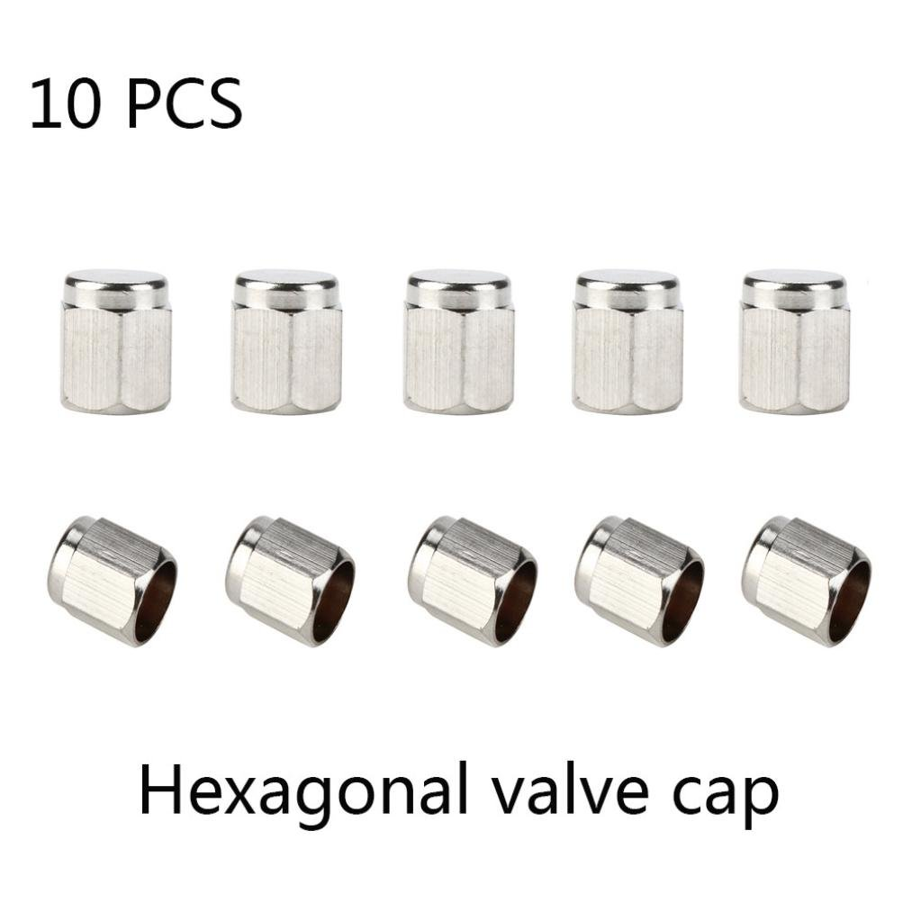 Glumes Hexagonal Auto Car Bike Motorcycle Truck wheel Tire Valve Stem Caps, for Car, Motorbike, Bike, 10pcs (Silver)