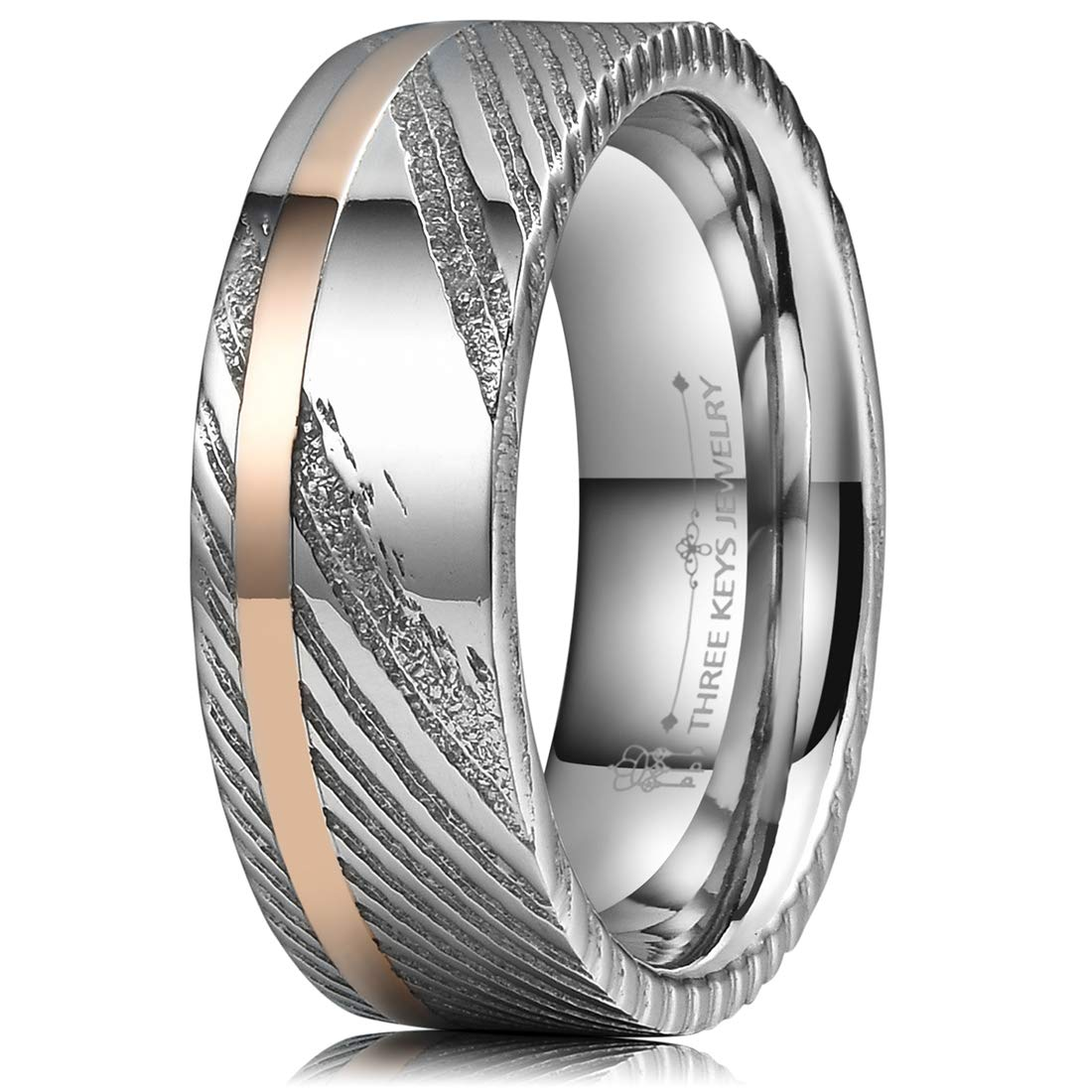 Three Keys Jewelry 8mm Damascus Steel Mens Wedding Ring Domed Wood Grain Rose Gold Offset Inlay Wedding Band Engagement Ring Size 10.5