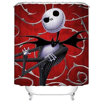 BARTORI Home Decor Shower Curtain Hooks Inside Jack Skellington A Horror Cartoon Vampire Or Skull In