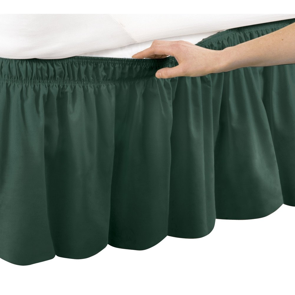 Wrap Around Bed Skirt, Easy Fit Elastic Dust Ruffle, Hunter Green, Queen/King