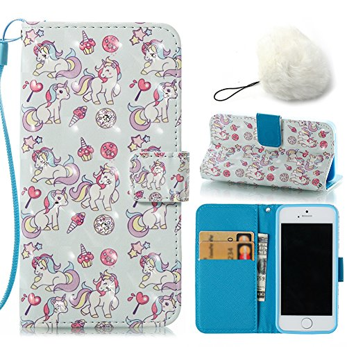 Galaxy J3 2016 J320 Case,PU Leather Wallet Case 2 in 1 Set For Galaxy J3 2016 J320,Vandot Flip Stand Magnetic Cover Colorful Drop Protection Shockproof Case+ Faux Pompom Furry Ball-[Colorful Unicorn]