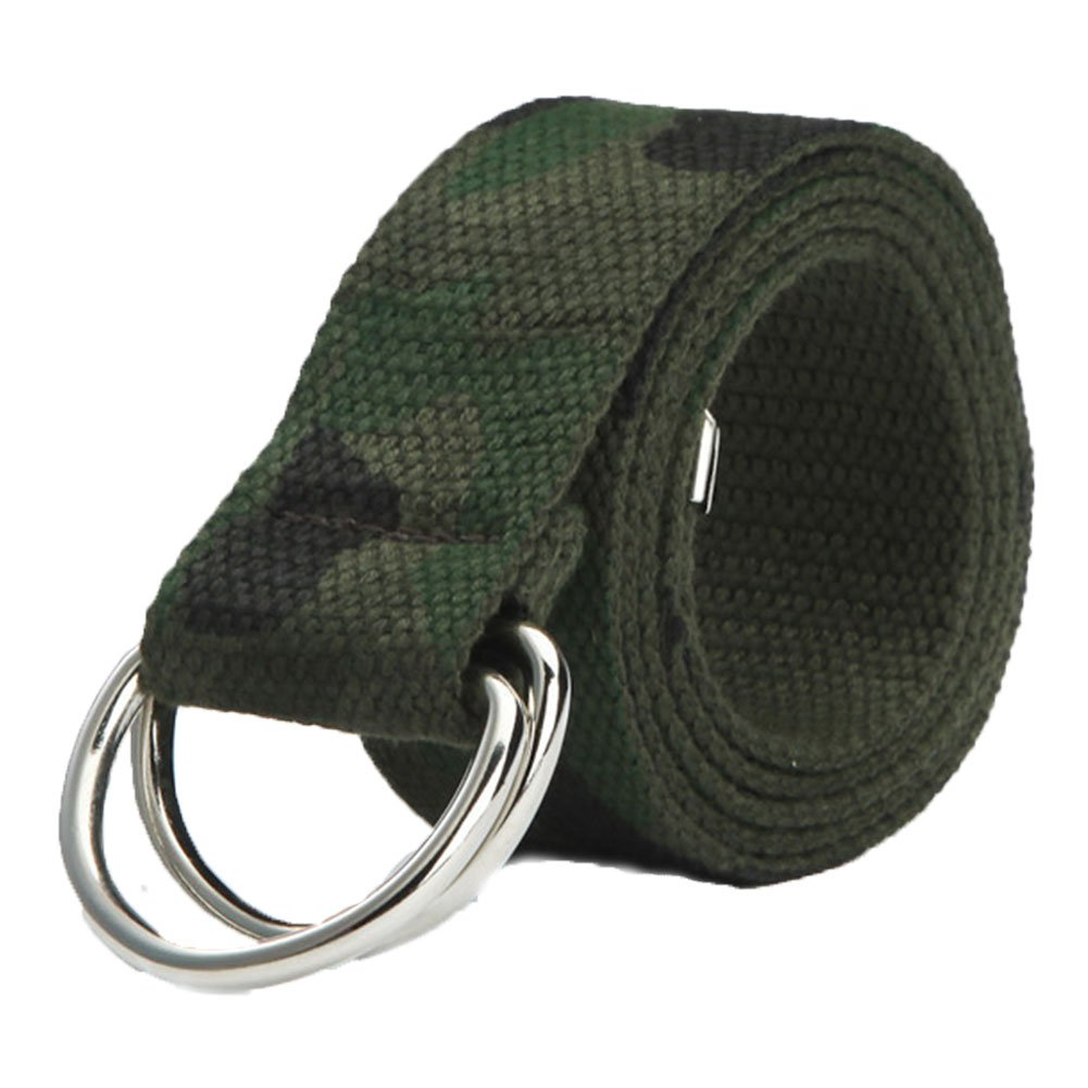 Alamana Fashion Casual Men Women Sport Canvas Belt Double Ring Buckle Waist Strap - Camouflage