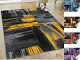 Handcraft Rugs - Yellow/Gray/Silver/Black/Abstract Contemporary Modern Design Mixed Colors Area Rug