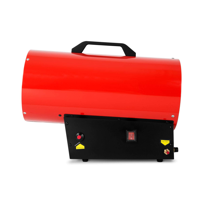 incl. tubo flessibile del gas e regolatore di pressione, accensione piezoelettrica 230V, valvola del gas con controllo fiamma, maniglia di trasporto EBERTH 30 kW riscaldatore a gas diretto
