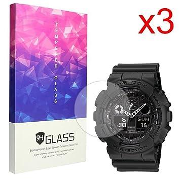 Ceston 9H Protector De Pantalla De Cristal Templado para Smartwatch Casio G-Shock The GA 100 (3 Pack)