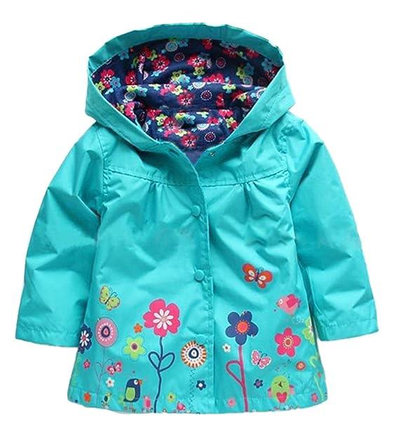 1c9677bc2175 Little Girls  Waterproof Hooded Coat Jacket Outwear Raincoat Flower Pattern  Blue