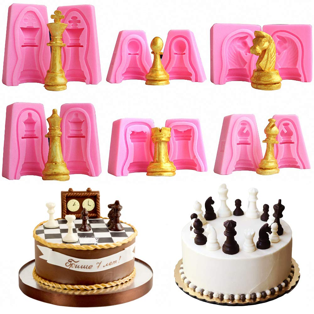 Candy Ice Cubes Also Ideal for Polymer Clay Crafting Making Chocolate Buytra 4pcs Chess Resin Mold International Chess Piece Silicone Mold Set for Resin Casting Fondant Cake Decorating