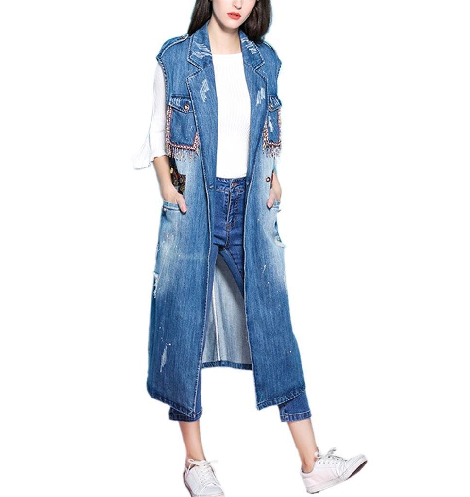 Women's Long Maxi Open Sleeveless Top Jacket Denim Waistcoat Cardigan (US size XS, Blue)