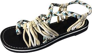 b-commerce 2019 Neue Frauen Mode Sommer Hanfseil Flip Flops Mixed Colors Shallow Sandalen römischen Strand Schuhe Hausschuhe Damen Flip Flops