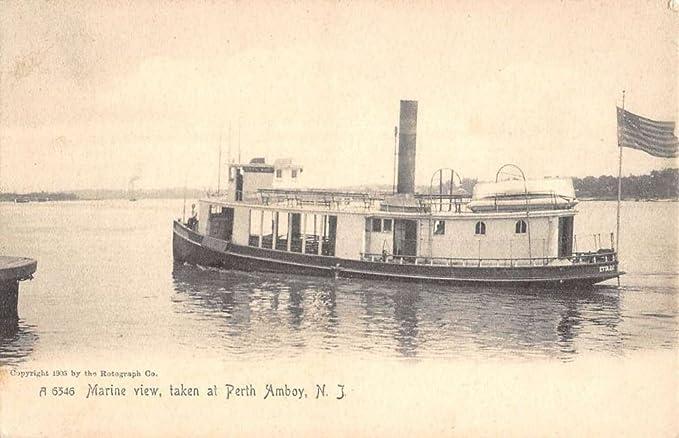 Perth Amboy New Jersey Marine View River Boat Antique Postcard ...