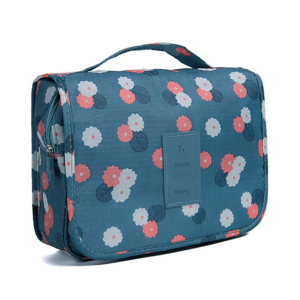 GCOA Hanging Toiletry Bag, Waterproof Large Cosmetic Makeup Travel Organizer for Women Girls with Sturdy Hook, Dark Blue Flowers
