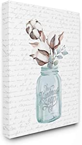 Stupell Industries Handmade Soap Jar Cotton Flower Bathroom Word, Design by Artist Lettered and Lined Wall Art, 16 x 20, Canvas