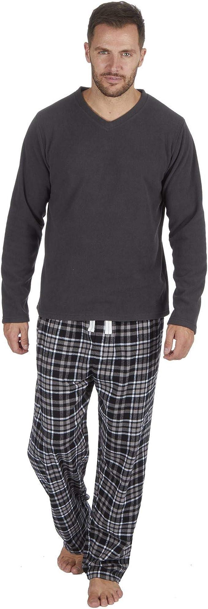 Mens Pyjamas Set Warm Long Check Bottoms Pjs Lounge Pajamas Fleece Winter pj