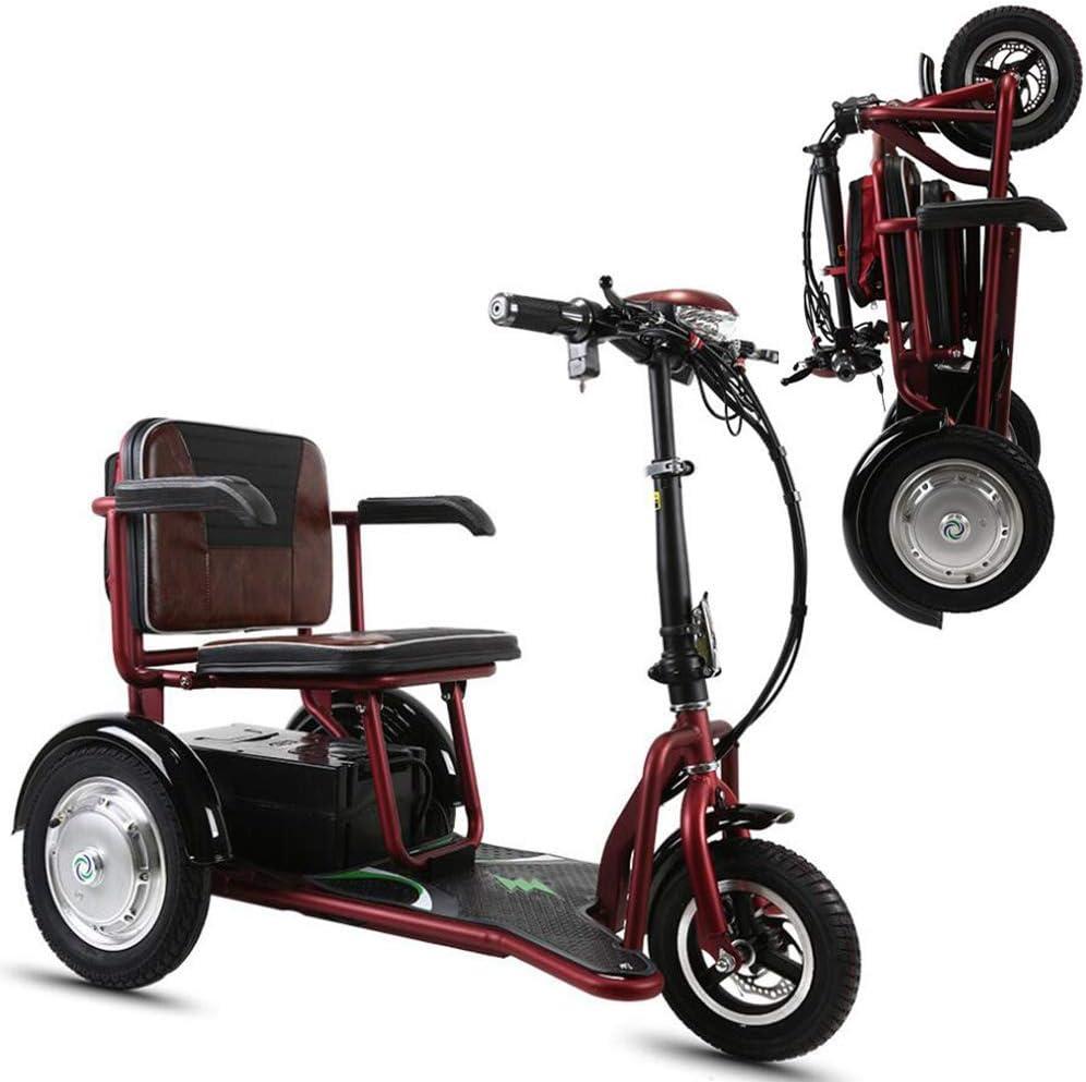 CYGGL Mini Triciclo Eléctrico Plegable para Ancianos Y Discapacitados, Motor 350W - Peso Corporal 26KG - Carga 120KG - Kilometraje Máximo 30Km- Calle Legal