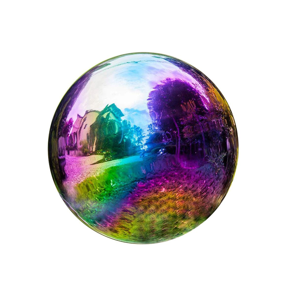 Topadorn Metallic Wonder Stainless Steel Gazing Globe Ball, Outdoor and Indoor Decorations for Home Garden Patio Party Yard, Multi-Color Rainbow