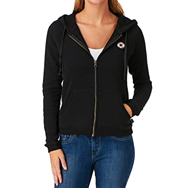 996bc28c246a Women s Converse Chuck Taylor Patch Full Zip Hoodie - Jet Black SIZE ...