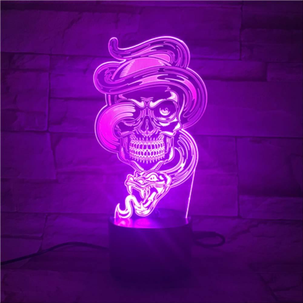Illusionslampe 3D-Nachtlicht Schwarze Totenkopf-Tischlampe Mit Bluetooth-Lautsprecher Led Mit 5 Farbverl/äufen