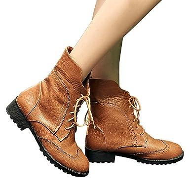 ❤ Botas Cortas de Invierno Mujer Cuero, Zapatos de Cuero ...