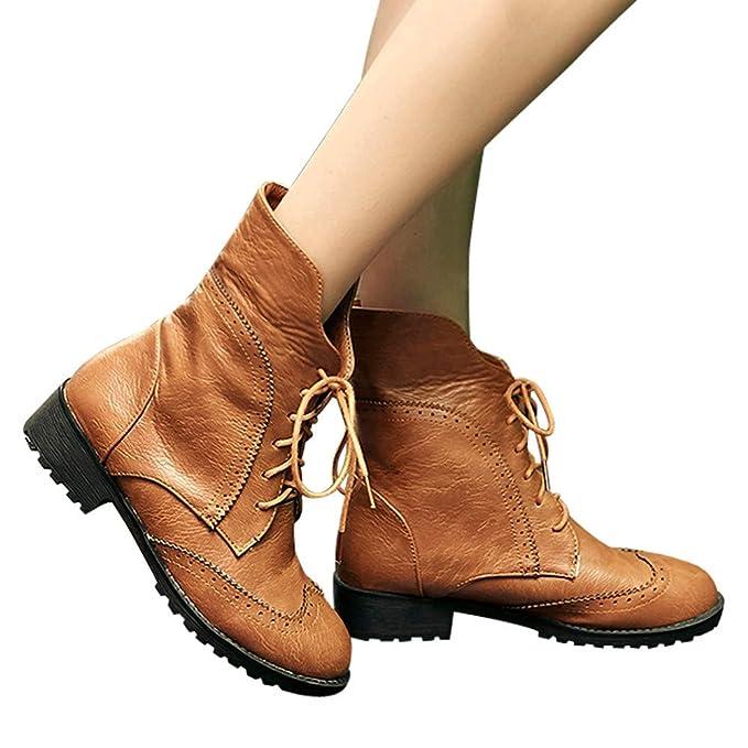 Botas Cortas de Invierno Mujer Cuero, Zapatos de Cuero con Punta Redonda para