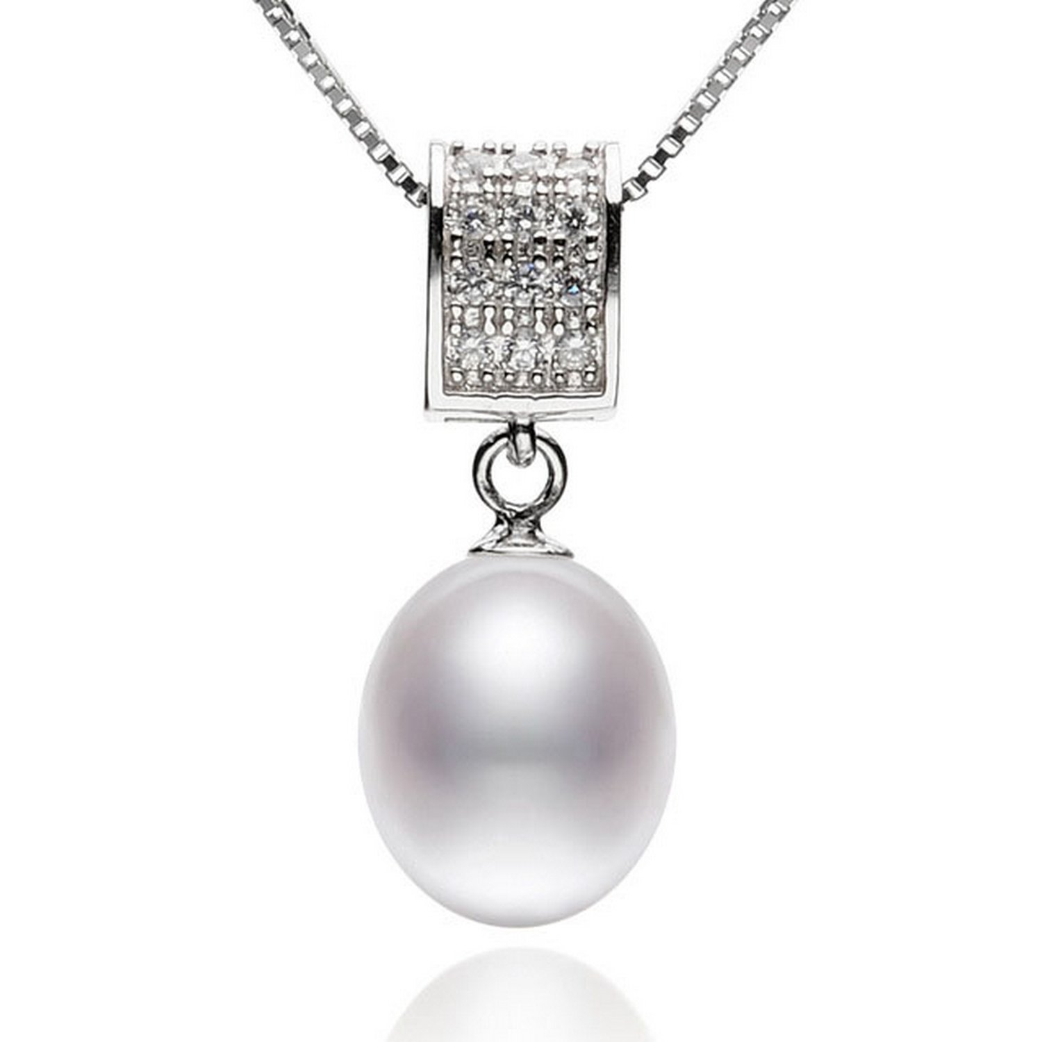CS-DB Jewelry Silver Rice Pearl Chain Charm Pendants Necklaces