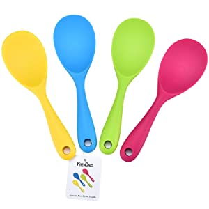 """4/Pack Premium Silicone Rice Paddle, KSENDALO Rice potato food Service Spoon, Non-stick/Eco-friendly/Heat-resistant, Works for Rice/Mashed Potato or more, Size: 8.86x2.68"""", Blue/Yellow/Pink/Green"""
