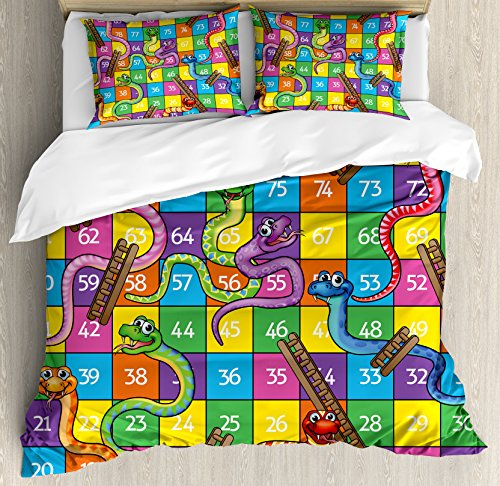 Board Game Queen Size Duvet Cover Set by Ambesonne, Cute Snakes Smiling Faces Numbers in Squares Ladders Childrens Kids Play Print, Decorative 3 Piece Bedding Set with 2 Pillow Shams, Multicolor by Ambesonne