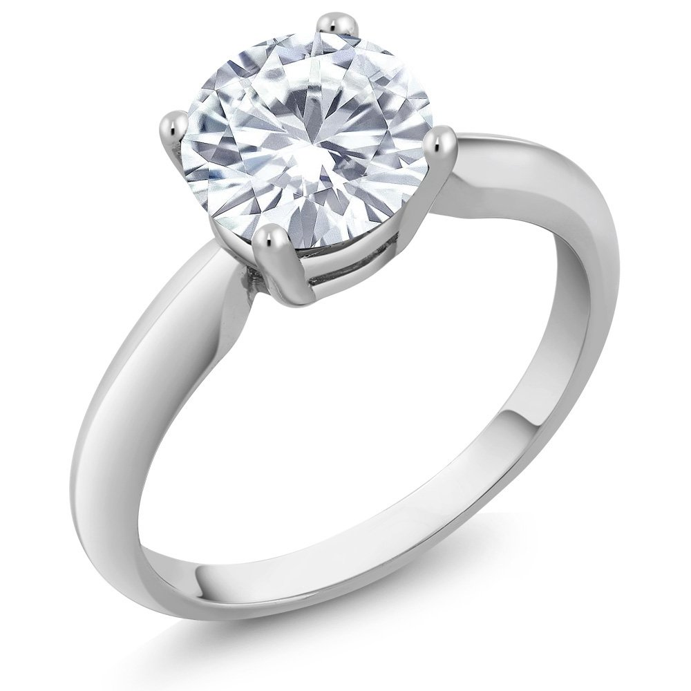 1.10 Ct Round White Created Moissanite 925 Sterling Silver Ring