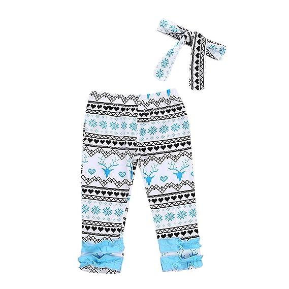 BBsmile Ropa de bebé 2 Piezas Navidad Recién Nacido Pantalones Largos con Estampado de Ciervos + Conjunto de Cintas para la Cabeza Otoño Invierno Traje de ...